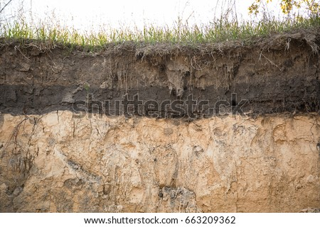 The layers of the earth in a clay pit. #663209362