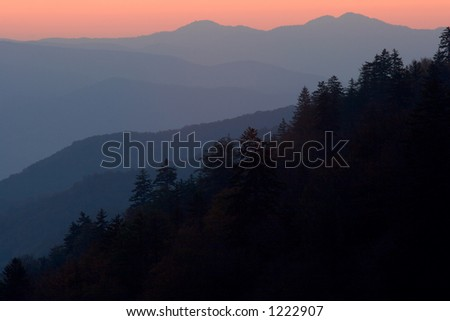 The layers of the North Carolina mountains painted by sunrise - Great Smoky Mountains Nat. Park, USA - stock photo