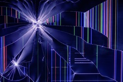 The LCD screen of TV set is broken background, abstract colorful stripe