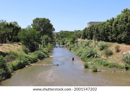 The Le Lez river, town of Bollene, department of Vaucluse, France Stock fotó ©