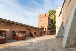 The leaning tower in Torun.  Medieval city walls