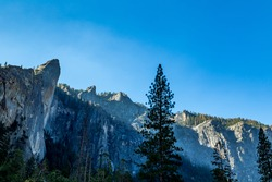 The Leaning Tower in Yosemite National Park is a popular destination for rock climbers. It is located west of and adjacent to Bridalveil Fall, on the south side of the Merced River in Yosemite Valley.