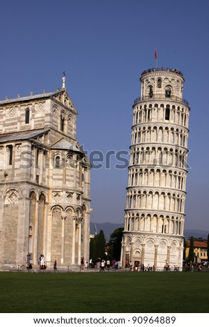 The leaning tower of Pisa in the Piazza del Duomo, in Pisa, Tuscany, Italy.