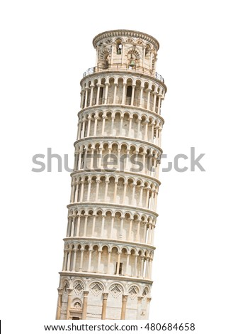 The Leaning Tower of Pisa isolated on white background. Zdjęcia stock ©