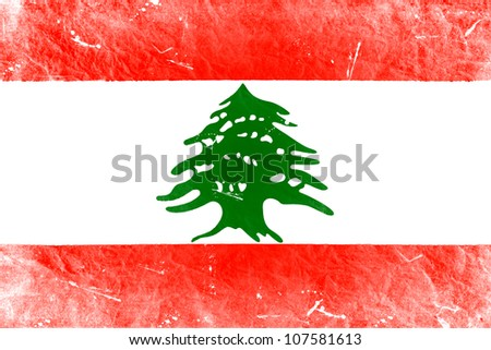 The Lebanese flag painted in vintage style