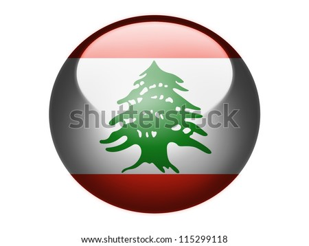 The Lebanese flag painted on glossy round sphere or icon