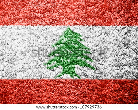 The Lebanese flag painted on towel surface