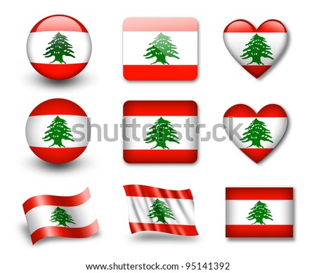 The Lebanese flag - set of icons and flags. glossy and matte on a white background.