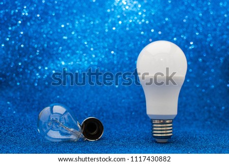 The led bulb is imposed on the incandescent