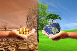 The left hand holds money. Right hand holding a earth There is a bokeh background. Design concept Nature or capitalism. element of the picture is decorated by NASA