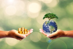 The left hand holds money. Right hand holding a tree There is a bokeh background. Design concept Nature or capitalism. element of the picture is decorated by NASA
