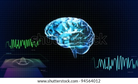 the left side of crystal brain and wave render for medical and biology concept
