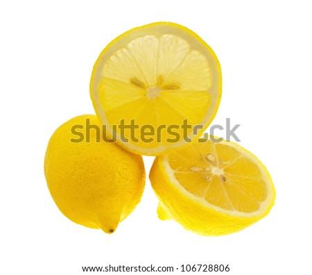The lemons isolated on white background.