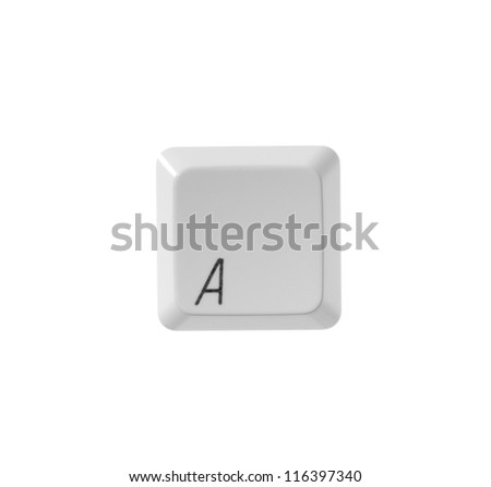 The letter A from a white computer keyboard