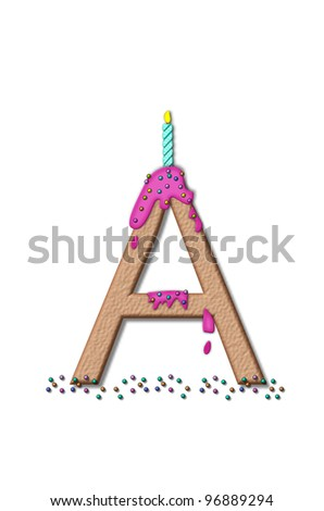 The letter A, from the alphabet set Happy Birthday, is tan with cake-like textured fill.  Letter is iced with pink frosting and sprinkled with tiny candies.  Candle sets in frosting on top of letter.
