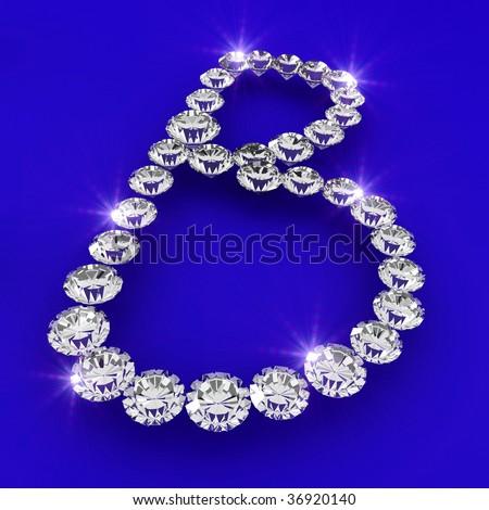 B Letter In Diamond The letter B 3d diamond art