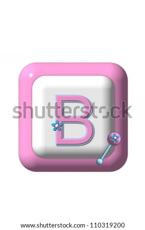 The letter B, in the alphabet set Baby Block Pink, sits on a 3D pink and white block that resembles a plastic baby block.