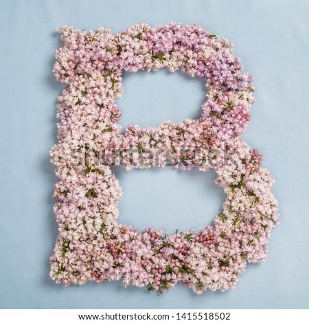 The letter B of the Roman english alphabet, the Russian alphabet is lined with lilac flowers on a blue background #1415518502