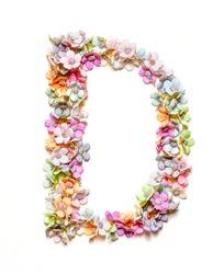 The letter D. Floral alphabet. Set of flower letters isolated on white. Flower font.