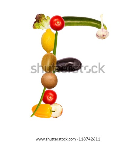 The letter f, composite with various fruits and vegetables, complete font available