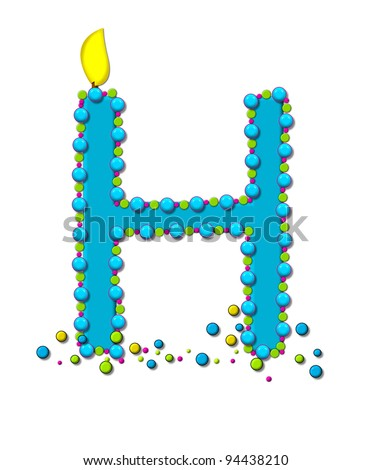 The letter H, in the alphabet set Birthday Cake Candle, is aqua and outlined in fun colored sprinkles.  Flame burns from top of letter.  More sprinkles surround base of letter.