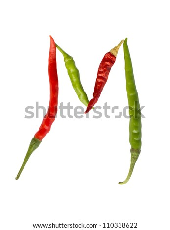 """The letter """"M""""�� made of red and green chili pepper isolated on the white background."""