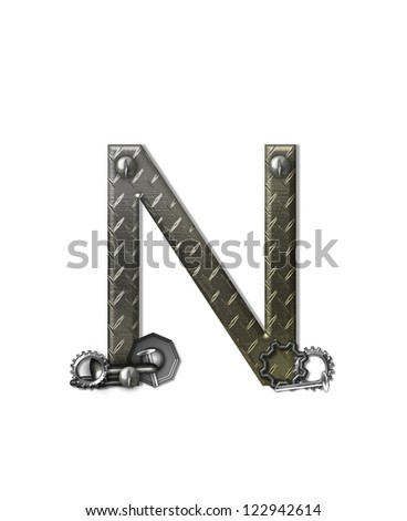 "The letter N, in the alphabet set ""Metal Shop"", is a chrome colored letter with etched texture.  Letter is decorated with nuts, bolts and screws.  Top of letter has rivets."