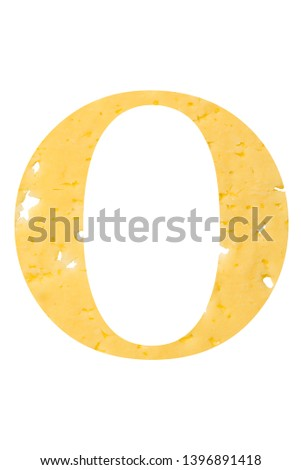 The letter 'O' of cheese with holes on a white isolated background, the symbol of proper nutrition and the alphabet. Vertical frame Foto stock ©