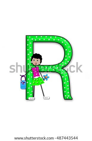 The letter R, in the alphabet set 'Diva Doll,' is polka dotted.  Girl dolls decorate letter dressed in skirt and carrying a purse and flower. Stock fotó ©
