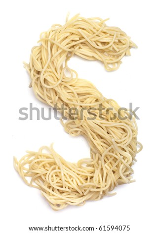 The letter S in spaghetti