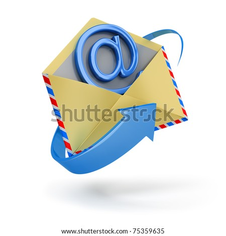 The letter surrounded with an arrow with email inside 3d image. Isolated white background. - stock photo