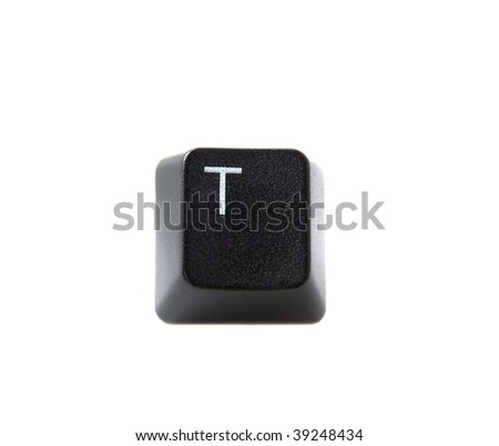 The letter T from a black computer keyboard