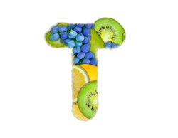 The letter T is made of fruit