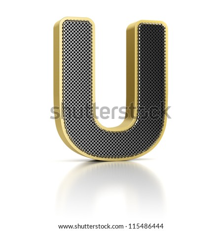 The letter U as a perforated metal object over white