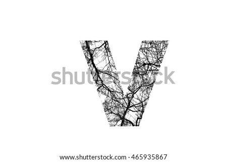 The Letter V With Crack Like Branches Black And White Insided