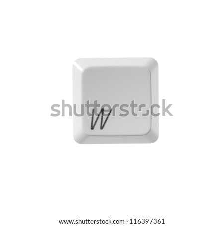 The letter W from a white computer keyboard