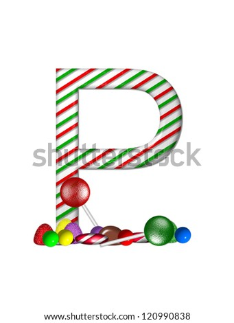 "The letter Z, in the alphabet set ""Candy Cane Sweets"", is striped peppermint in red and green.  Gumdrops, gumballs, peppermint, chocolate and lollipops decorate base of letter."