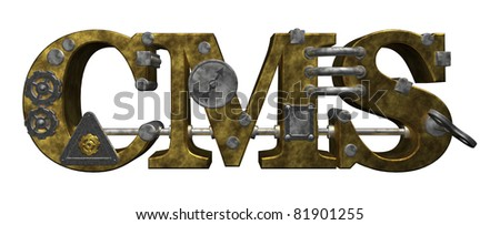 the letters cms in steampunk style - 3d illustration