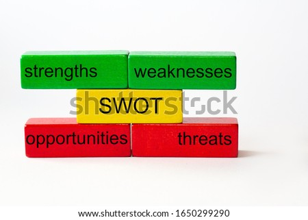 The letters SWOT stand for strengths, weaknesses, opportunities and threats. These words are written in black  on red, yellow and green blocks