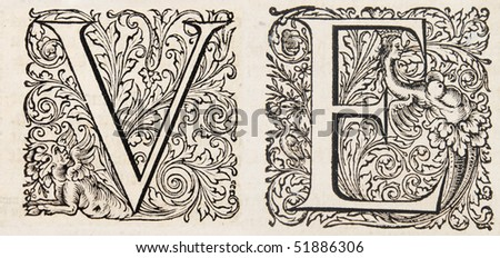 the letters V and E from a 17th century bible