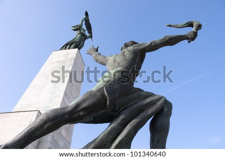 the Liberty Monument (sometimes Freedom Monument) in Budapest was erected in 1947 in remembrance of the Soviet liberation of Hungary from Nazi forces during World War II
