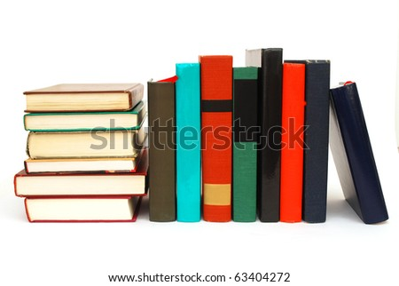 the library books on white table