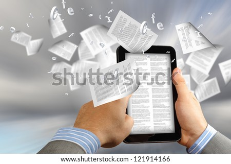the library in the e-book concept with text pages flying out of a e-reader