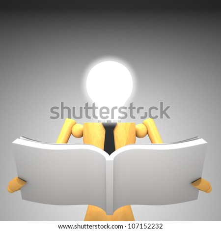 The light bulb head wooden doll with book 3d illustration