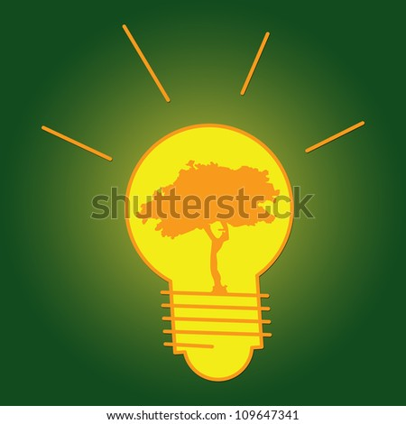 The Light Bulb With Tree Inside for Save The Earth or Stop Global Warming Campaign