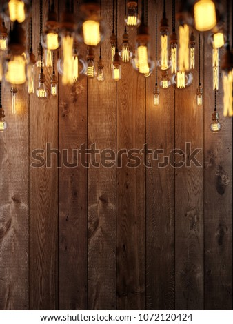 The light from the Edison lamp. Hang on the background of a wooden wall, depth-of-field camera effects. 3D rendering