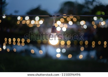 The light from the lamp is beautifully decorated in the party and beautifully bokeh. Soft focus #1150096496