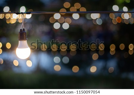 The light from the lamp is beautifully decorated in the party and beautifully bokeh. Soft focus #1150097054