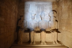 The light spear through the darkness, illuminating the statues carved inside Abu Simbel. Sun Festival is one of the annual attraction.