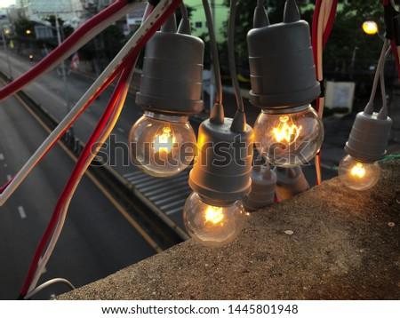The light to illuminate at the floating bridge